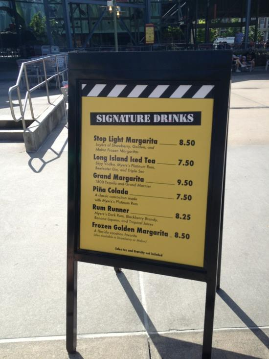 Adult beverage menu
