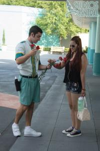 Cast Members handed out flowers to moms for Mothers Day