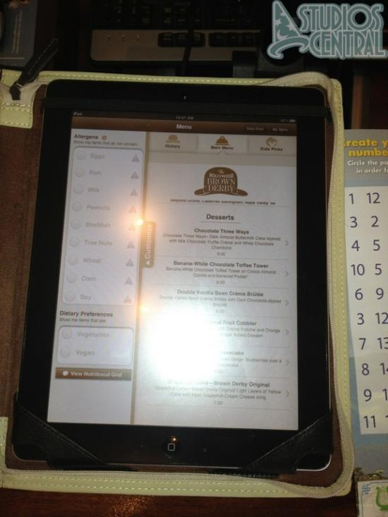 Uses an iPad to display an interactive menu