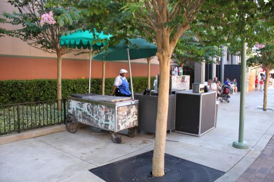Temporary hot dog cart on Pixar Place
