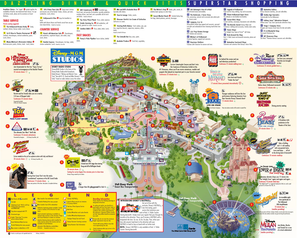 Disney-MGM Studios Map from 2000