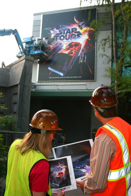Star Tours 2 billboard being installed